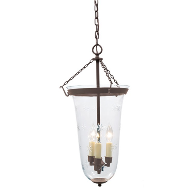 Large Elongated Bell Jar Lantern With Star Glass