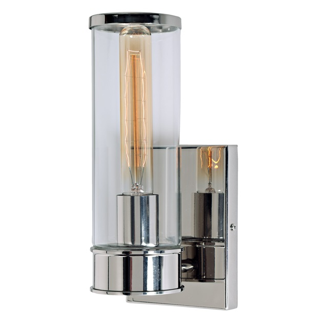 Gramercy one light wall sconce  sc 1 st  JVI Designs & Rectangular back plate sconce | Clear cylinder glass sconce | Nickel ...