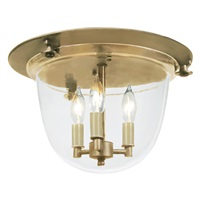 Classic flush mount bell lantern with clear glass