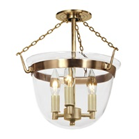 Small semi flush classic bell lantern in clear glass