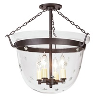 Large semi flush classic bell lantern with tiny star glass