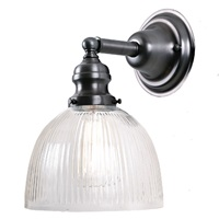 "One light Union Square Sconces 7"" Wide, clear ribbed mouth blown glass shade"