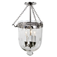 Medium semi flush bell jar lantern with star glass