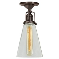 "One light Union Square ceiling mount  4.75"" Wide, clear mouth blown glass shade"