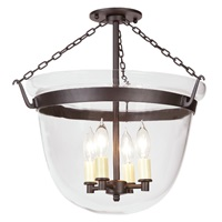 Large semi flush classic bell lantern with clear glass