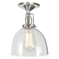 "One light Union Square ceiling mount  7"" Wide, clear mouth blown glass shade"