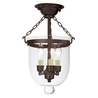 Small semi flush bell jar lantern with clear glass