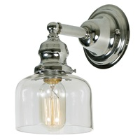 "One light Union Square shyra wall sconce 5"" Wide, clear mouth blown glass shade"