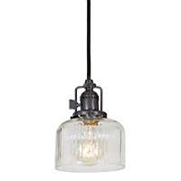 "One light Union Square Shyra pendant, 5"" Wide, clear ribbed mouth blown glass shade"