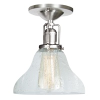 "One light Union Square bell ceiling mount 7"" Wide, clear bubble mouth blown glass shade"