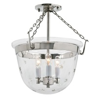 Small semi flush classic bell lantern in tiny star glass
