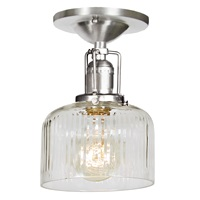 "One light Union Square shyra ceiling mount 5"" Wide, clear ribbed mouth blown glass shade"