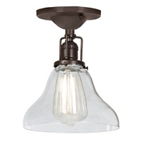 "One light Union Square bell ceiling mount 7"" Wide, clear mouth blown glass shade"