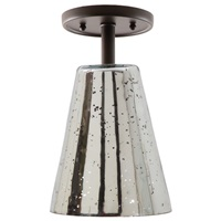 "One light grand central ceiling mount oil rubbed bronze finish 6"" Wide, antique mercury mouth blown glass small cone shade"