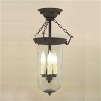 Semi flush elongated bell jar lantern with star glass