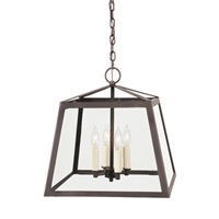 Three light large troy lantern clear glass