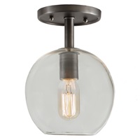 "One light grand central ceiling mount  7"" Wide, clear mouth blown glass ball shade"