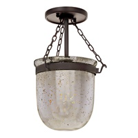 Mercury small semi flush bell jar lantern