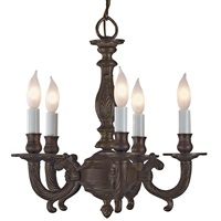 Five light cast brass chandelier