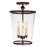 Charleston three light small semi flush