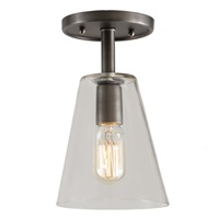 "One light grand central ceiling mount  6"" Wide, clear mouth blown glass small cone shade"
