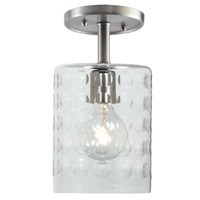"One light grand central ceiling mount  6"" Wide, hammered column mouth blown glass shade"