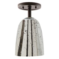 "One light grand central ceiling mount oil rubbed bronze finish 6"" Wide, antique mercury mouth blown glass ramona shade"