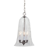 Large elongated bell jar pendant with flower glass