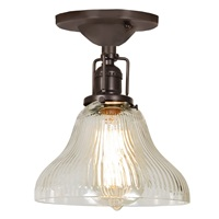"One light Union Square bell ceiling mount 7"" Wide, clear ribbed mouth blown glass shade"