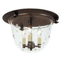 Classic flush mount bell lantern with tiny star glass