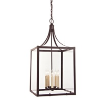 Five light Columbia arc lantern with glass - large