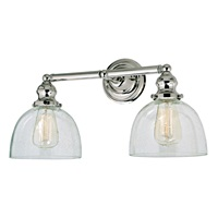 Union Square two light clear bubble Madison bathroom wall sconce