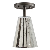 "One light grand central ceiling mount oil rubbed bronze finish 7.5"" Wide, antique mercury mouth blown glass medium cone shade"
