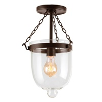 Small semi flush bell jar lantern