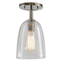 "One light grand central ceiling mount  6"" Wide, clear mouth blown glass ramona shade"