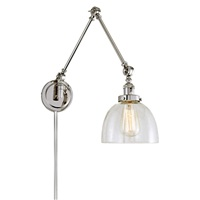 Soho One Light Triple Swing Arm Clear Bubble Madison Wall Sconce