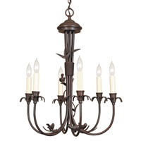 Six light bird chandelier in brass